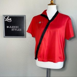Red Asymmetrical Black Trim Short Sleeve Top